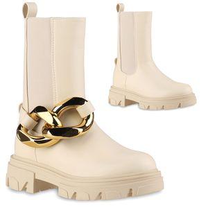 VAN HILL Damen Leicht Gefütterte Schlupfstiefel Stiefel Profil-Sohle Schuhe 837817, Farbe: Beige, Größe: 39
