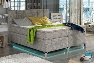 Boxspringbett Polsterbett Bett Bettkasten LED 160x200 Strukturstoff grau