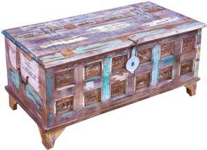 Antike Holzbox,Holztruhe, Couchtisch, Kaffetisch aus Massivholz, Aufwändig Verziert - Modell 25, Antik-weiß, 47*101*50 cm, Truhen, Kisten, Koffer