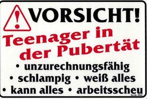 Lustiges Schild - Vorsicht! Teenager in Pubertät - Gr. 30x20 cm - 309063