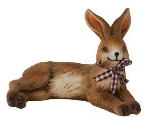 Hase liegend Figur mit Schleife Dekofigur H 14 cm