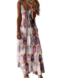 Frauen Geometrischer Druck Ärmellose Maxi Long Dress Party Plus Size,Farbe: Lila,Größe:3XL