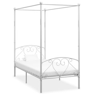 Himmelbett-Gestell Weiß Metall 90 x 200 cm