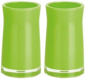 Spirella Zahnputzbecher Zahnbürstenhalter 2-er Set Sydney 7 x 12 cm Grün