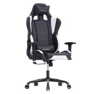 SONGMICS Bürostuhl Gamingstuhl Chefsessel bis 150kg belastbar 132cm Schreibtischstuhl mit Armlehnen Rückstellschaum Schwarz-Weiß RCG12W
