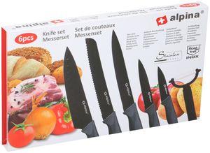 Alpina® 6-teiliges Professionelle Messer-Set - Brot, Fleisch, Allzweck, Schäler und Santoku-Messer - Inklusive Sparschäler in Geschenkbox
