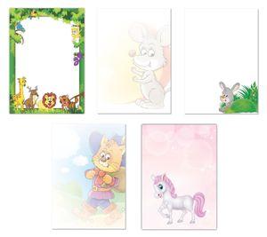 5 x 5 Blatt im Set Briefpapier Mix DIN A4 Dschungel Maus Käse gestiefelte Kater Hase Pony Löwe Giraffe  (Kinder-5224)