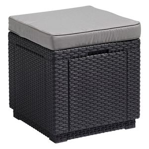 Allibert Cube Sitzhocker H 39 x B 42 x T 42 cm, mit Stauraum, Graphitgrau