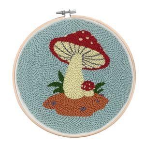 Stickerei DIY Kit Crafts Stricken Stanzstickerei Kit Cross Stitch Kit für Anfänger Kinder, 15cm Rahmen Farbe Pilz