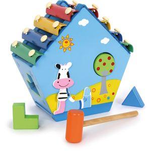 Small Foot Xylophon-Haus, mit Steckelementen, aus Holz, mehrfarbig (1 Stück)