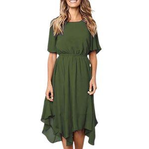 Summer Lady einfarbig unregelmäßig enge Taille Kurzarm Midi-Kleid mit rundem Hals-Grün / Größe:M