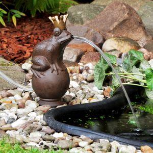 Wasserspeier Springbrunnen Froschkönig Wasserspiel Gartenfigur Teich mit Pumpe