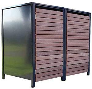 2 Premium Tailor-Mülltonnenboxen für 120 Liter Tonnen Anthrazit / Front-Edelholz