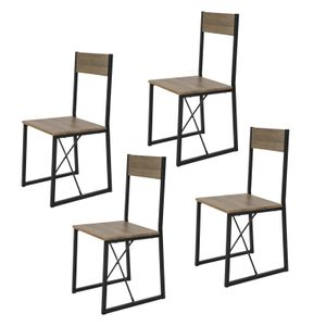 SoBuy FST67x4 4-er Set Esszimmerstuhl mit Rücken-Lehne Küchenstuhl Holzstuhl Balkonstuhl Gestell aus Metall im Industrial-Look