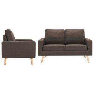 2-tlg. Sofagarnitur Stoff Braun, Wohnlandschaft-Sofa, Couch, Relaxsofa Moderne