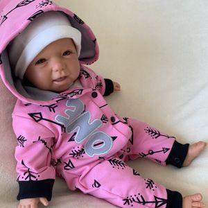 Baby Mädchen Strampler Overall Jumpsuit mit Kapuze Gr. 80 pink