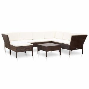 Huicheng 8-tlg. Polyrattan Garten Lounge Sitzgarnitur Sitzgruppe mit 3 Ecksofa & Hocker & Couchtisch und Auflagen Braun