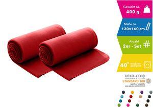 WOMETO 2er Set Polar- Fleecedecke 130x160 cm ca. 400g wertiges Gewicht mit Anti-Pilling Kettelrand Farbe rot (viele Farben)