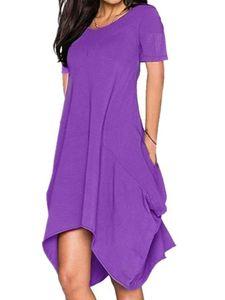 Damen unregelmäßiges kurzärmeliges Kleid lockerer langer Rock,Farbe: Violett,Größe:XL