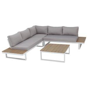 NATERIAL - Gartenmöbel-Set SAN DIEGO - 5 Personen - Sitzgruppe Garten - Aluminium - Weiß