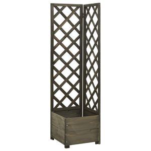 Hochbeet für Balkon und Garten | Pflanzkübel Vintage | Blumenkübel Eck-Spalier mit Pflanzkasten | Grau 40x40x150cm Tannenholz - direkt vom Hersteller HOM273687