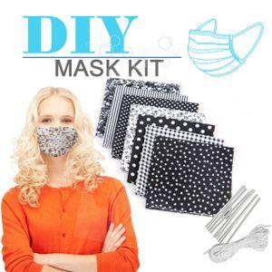 Miixia 7 Stoffreste Patchwork Baumwolle Paket + 6M Gummiband + 10 Nasenbügel Maske DIY Set