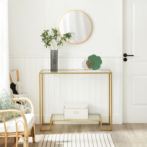 VASAGLE Konsolentisch, 100 x 35 x 80 cm, 2 Ablagen aus Hartglas, Flurtisch, Beistelltisch, Stahlgestell, für Flur, Eingangsbereich, Wohnzimmer, goldfarben LGT023A01