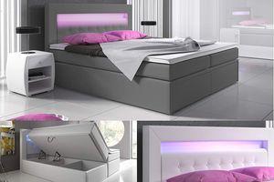 Boxspringbett Venedig Lift Hotel Bett Doppelbett Bettkasten 160x200 Grau Kunstleder