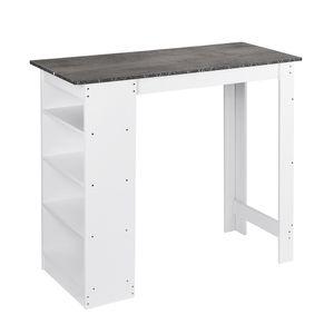 Bartisch | Beistelltisch Stehtisch Küchentheke Holz Esstisch Tisch 115x50x103cm Weiß + mattschwarz (für 2-4 Personen geeignet)