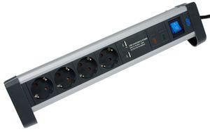 as - Schwabe 18361 4-fach Überspannungs-Aluminium-Steckdosenleiste,  mit Schalter und Kinderschutz, mit 2 USB Ports, 1,5m Kabel mit Schuko-Stecker