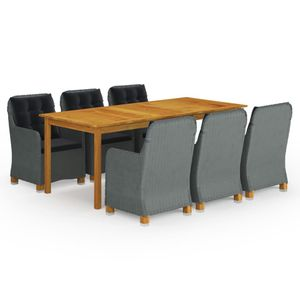 Gartenmöbel Essgruppe 8 Personen ,9-TLG. Terrassenmöbel Balkonset Sitzgruppe: Tisch mit 8 Stühle Hellgrau❀9989