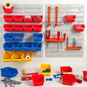 ALUTEC Werkzeugwand 43-teilig Stapelboxen Aufbewahrungsboxen Aufbewahr