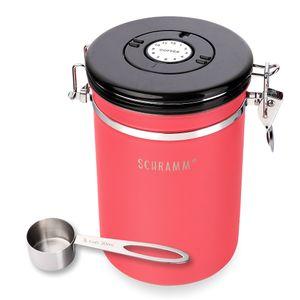 Schramm® Kaffeedose 1800 ml in 10 Farben mit Dosierlöffel Höhe: 19cm Kaffeedosen Kaffeebehälter aus Edelstahl , Farbe:Rot