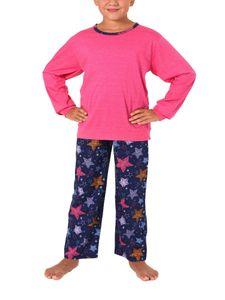 Mädchen Pyjama langarm mit Bündchen mit Sternen Alloverprint – 271 401 90 228, Farbe:pink, Größe:116
