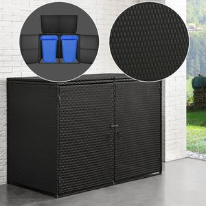 Juskys Mülltonnenbox Mol Aufbewahrungsbox für zwei Tonnen 1,2m² abschließbare Türen Poly-Rattan in schwarz Mülltonnenverkleidung