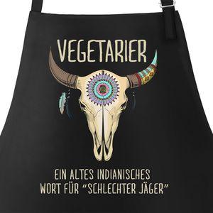 Grill-Schürze für Männer mit Spruch Vegetarier / Veganer Schlechter Jäger Spruch Skull Baumwoll-Schürze Küchenschürze Moonworks® Vegetarier schwarz unisize