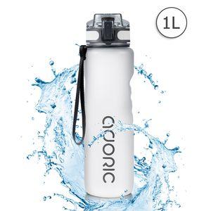 ADORIC Sport Trinkflasche, [BPA Frei Tritan] 1L Auslaufsicher Kunststoff Wasserflasche Sport, Sportflasche Fahrrad für Camping Freien, Outdoor, Yoga, Gym,Eisweiss