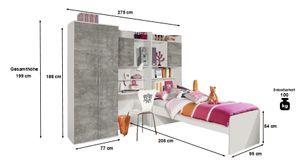 Jugendzimmer Naomi 4-teilig weiß / grau B 275 cm inkl Kleiderschrank + Jugendbett + Schreibtisch + Regal Jugendzimmer