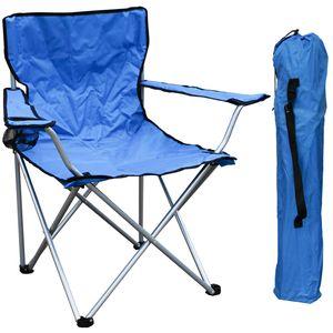 Anglersessel mit Getränkehalter und Tasche Blau belastbar bis 120kg