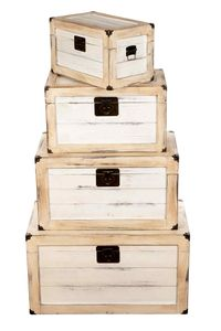 BS17001NEUS Antikweiß ECHTHOLZ MASSIV Truhe Schatzkiste Kiste Piratenkiste, Größe:Größe L (50cm B x 30cm H x 30cm T )