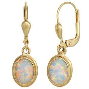 JOBO Boutons 333 Gold Gelbgold 2 Opale Ohrringe Ohrhänger