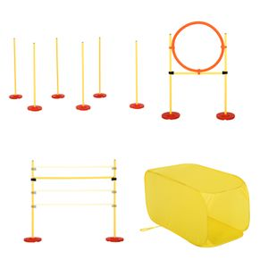 PawHut Hunde Agility Hürden Set, Hundetrainings-Set, Hindernislauf, Kunststoff, Polyester, Gelb, 128 x 23 x 9-100 cm