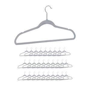 relaxdays 30 x Kleiderbügel Samtbügel Bügel Set Velvet Hangers Rockbügel Hosenbügel  grau