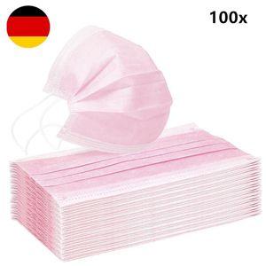 V-Calm®100 Stück Rosa Maske Einweg Atem Mundschutz 3-Lagig Schutzmaske Gesichtsmaske Filter Masken Antibakterien