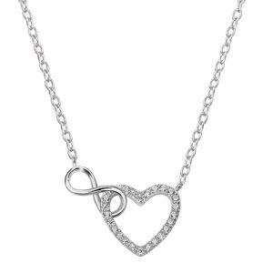 MATERIA Damen Collier Herz Unendliche Liebe - Zirkonia Halskette Silber 925 verstellbar 41-44cm mit Box KA-261