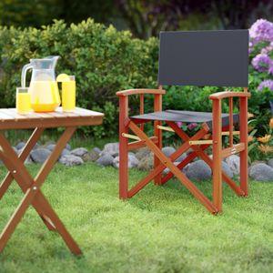 Casaria Gartenstuhl Cannes FSC®-zertifiziertes Eukalyptusholz Klappbar Faltbar Regiestuhl Klappstuhl Holz Garten, Farbe:2x anthrazit