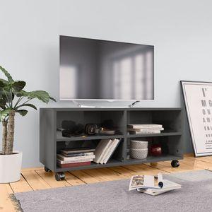 dereoir TV-Schrank mit Rollen Hochglanz-Grau 90×35×35 cm Spanplatte