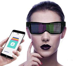 LED Brille Bluetooth APP Steuerung, 9 Dynamische Bilder, DIY Neon Draht Brille mit App ,für Raves Festival Clubs Motto Partys
