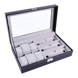 Uhrenbox Uhrenkasten Uhrenkoffer Brillendisplay Brillenorganizer Brillenaufbewahrung mit Glasfenster für 6 Uhren und 3 Brillen