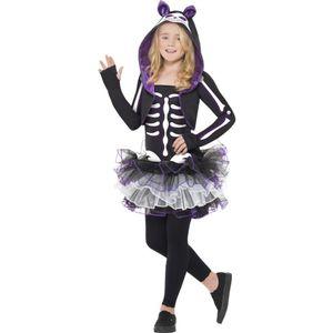 Skelett Katze Kostüm, Kind, Größe:TEEN